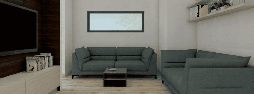 Chalet en bois habitable 79m2 - Salon