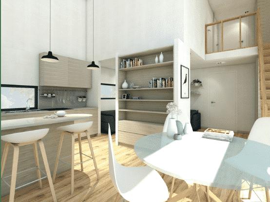 Visualisation 3D de la cuisine du chalet en bois habitable