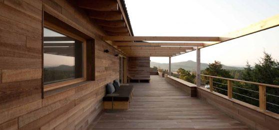 Terrasse d'une maison à ossature bois